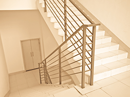 modern office indoor stairs with handrail